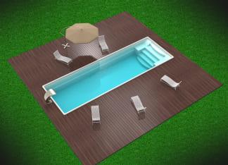 Керамический бассейн цвет белый